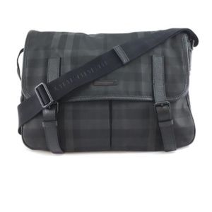 Smoked Check Pattern Logo Black Nylon MessengerBag